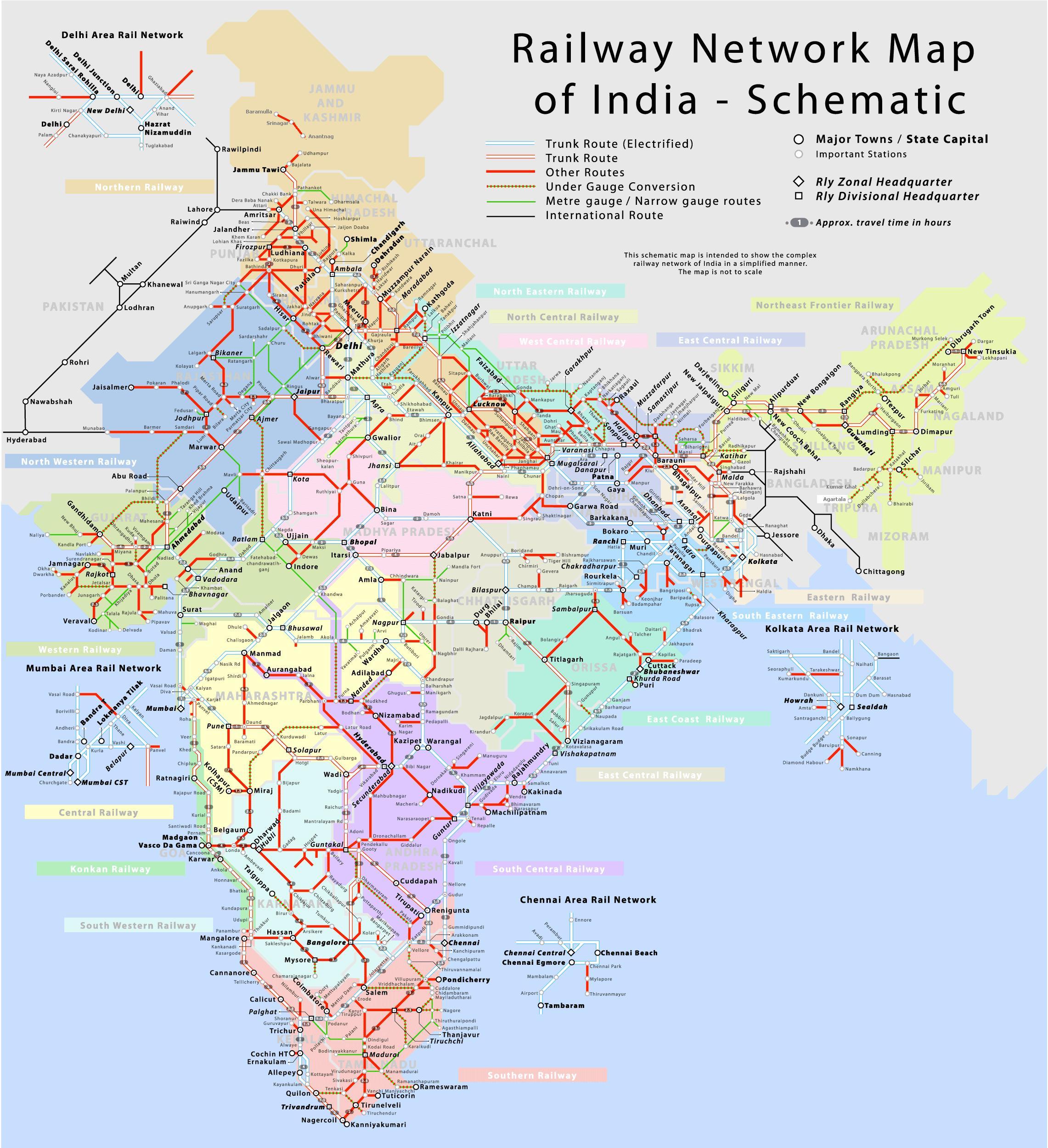 India Jernbane Kart Med Avstand Jernbanetrase Kart Over India