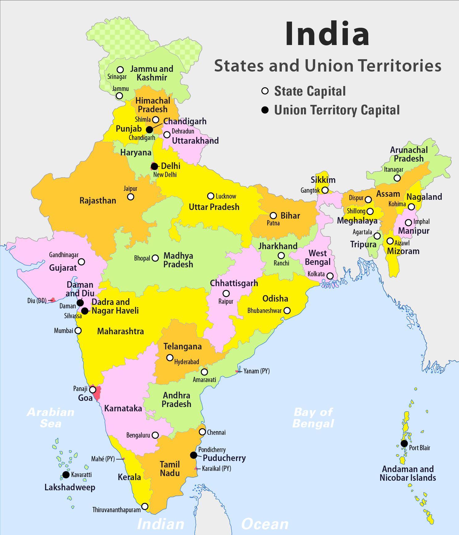 india kart India kart med stater hd   Hd India kart med stater (Sør Asia   Asia) india kart