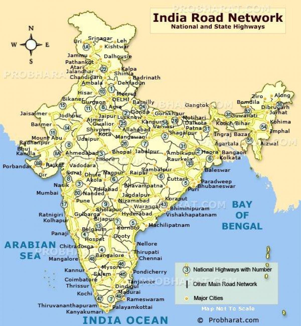 India Kart Veien Avstand Kart Over India Road Distance Sor Asia